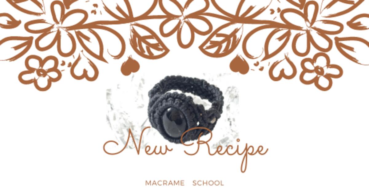 マクラメ編み教室 カボションリング