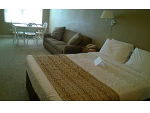 Okoboji Resort Bedroom and Living Room