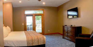 Okoboji Resort Bedroom and Patio