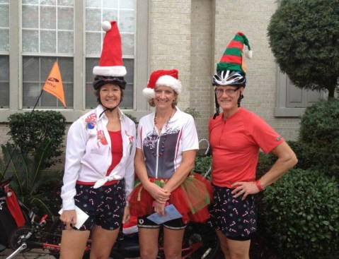 Holiday Dinner Ride 2012 Best costume — Lois' red tutu, and Chris and Babs share second place.