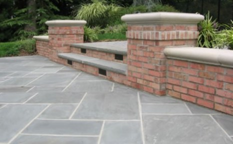 Brick Retaining Wall off of Walkway