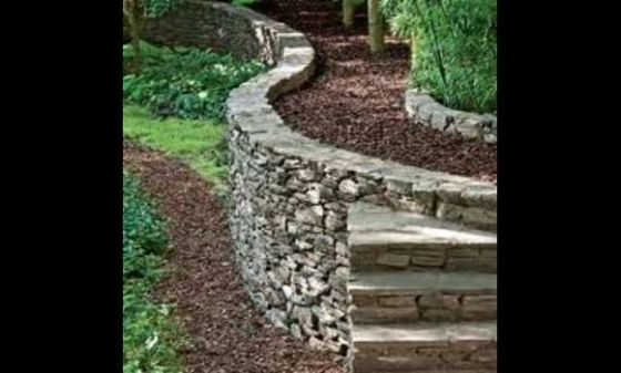 Old Timey Style Retaining Wall