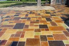 Multi-Colored Stamped Concrete Patio