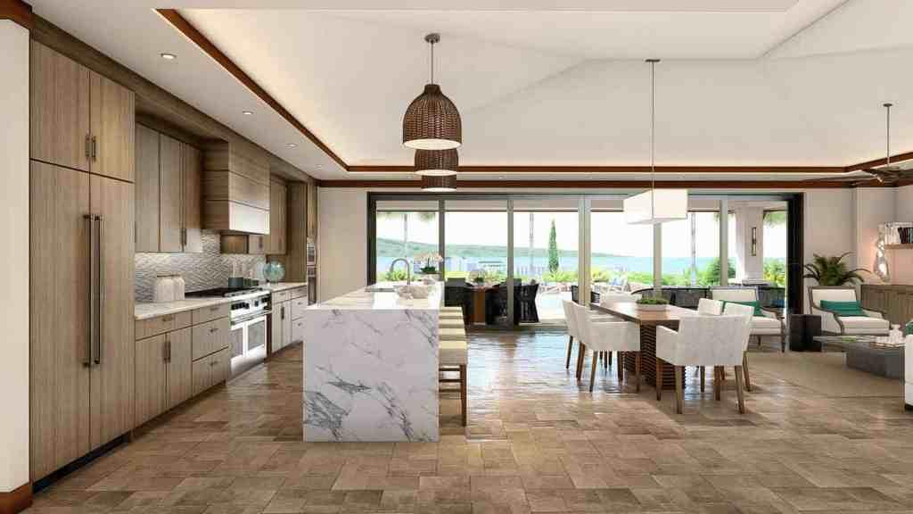 Living area and kitchen of a Maui custom home