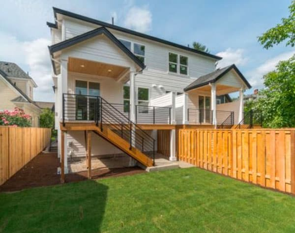 Duplex by Crescent Custom Homes OR, backyard view
