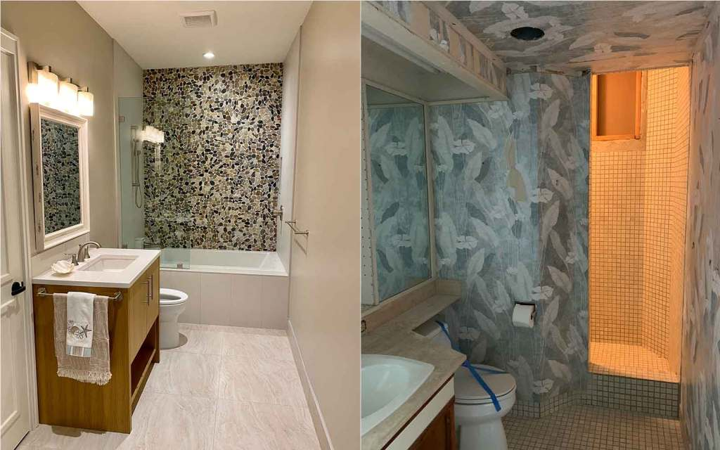 An example of a bathroom remodel, before and after, by remodeling contractor, Crescent Homes Maui.