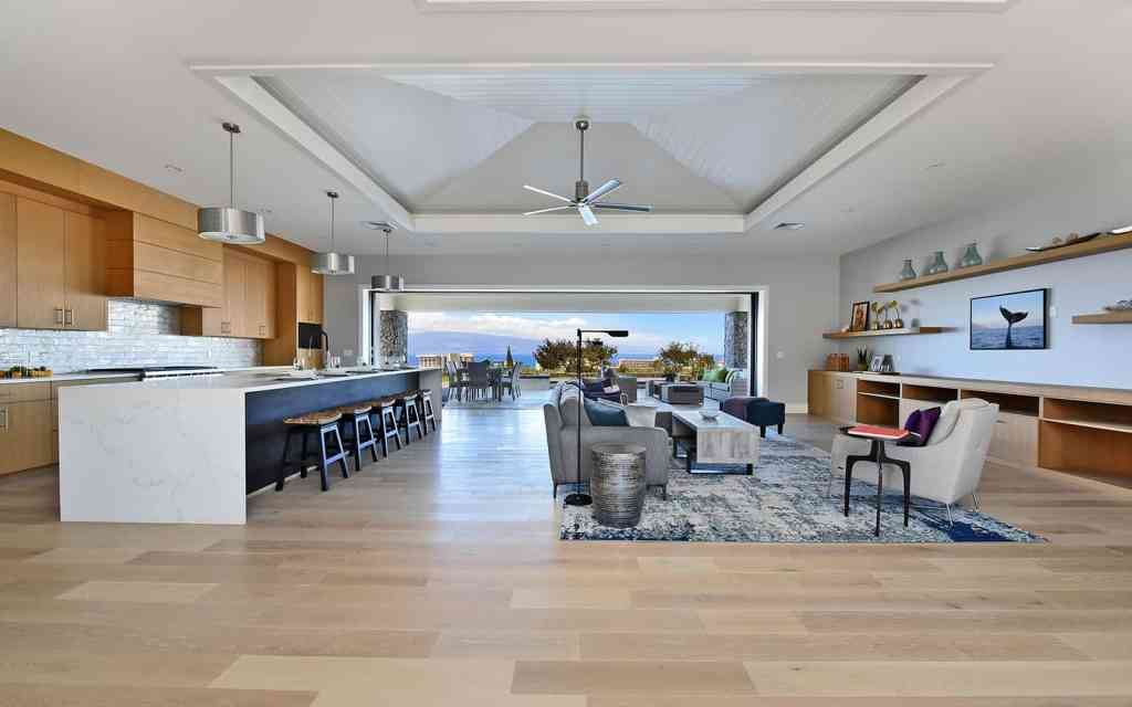 New construction living room with view, home by Crescent Homes Maui
