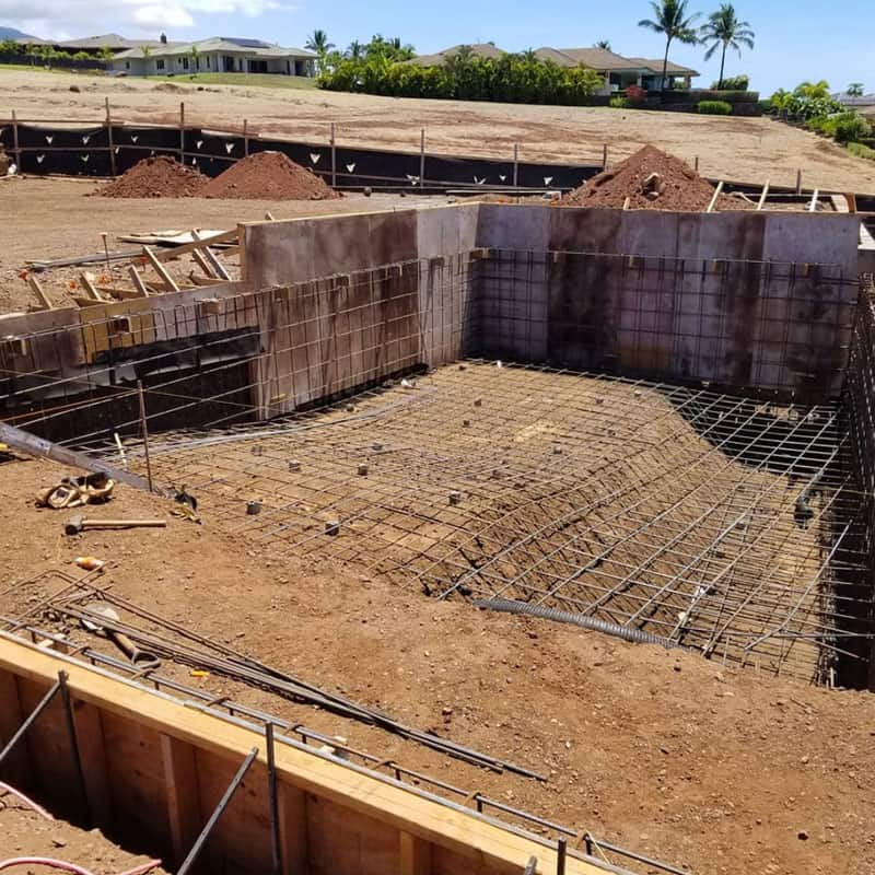 Walls framed and rebar in place for new Maui home