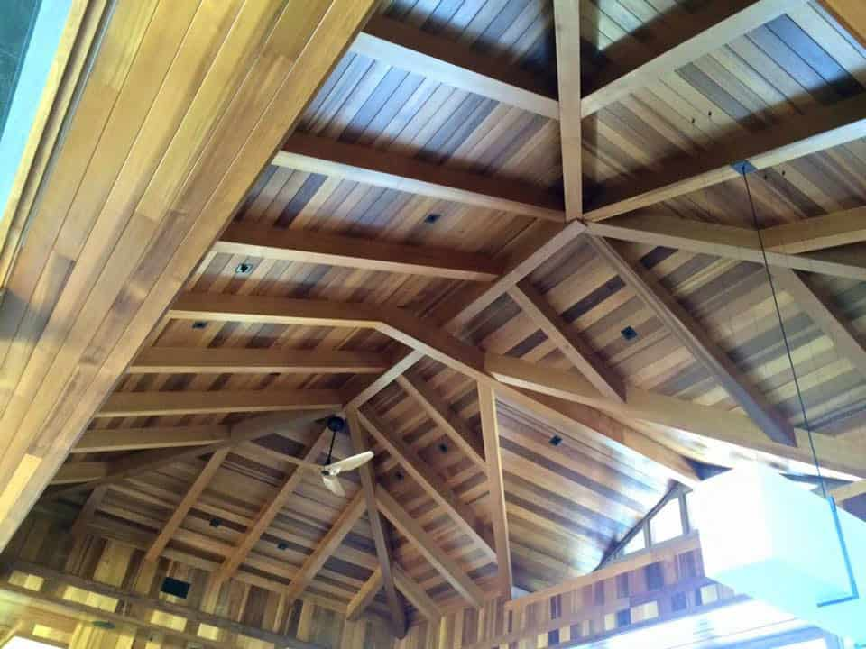 Ceiling rafters with exotic woods freshly refinished.
