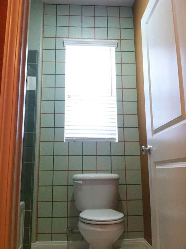 Painted checkerboard painted on wall behind commode in bathroom