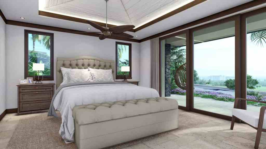 Master bedroom with view and doors to the lanai built by the best Maui construction company
