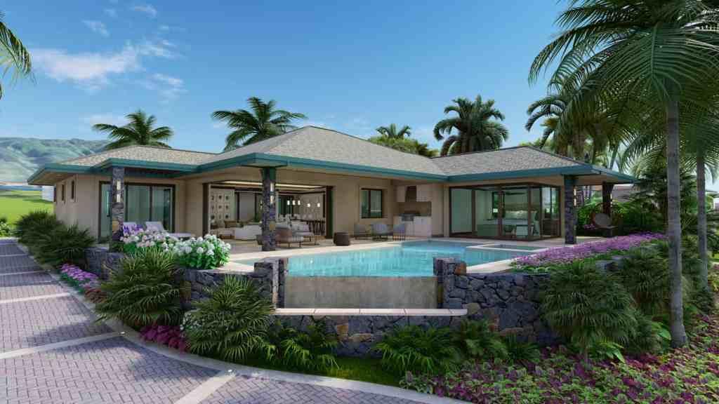 Infinity pool, lanai, and home