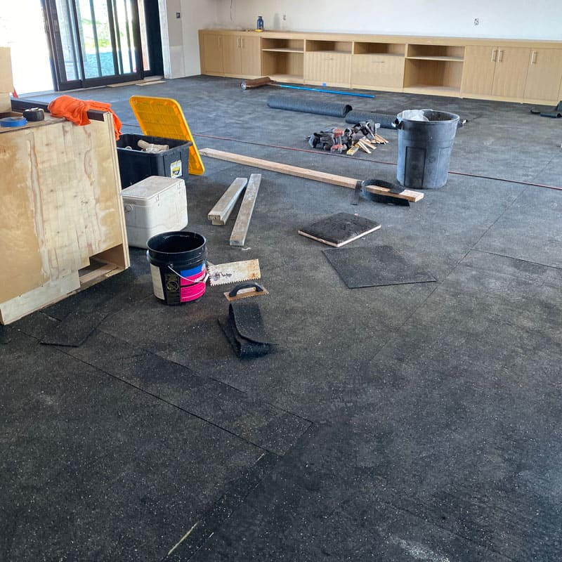 Acoustical underlayment or sound dampening installed prior to the wood floor