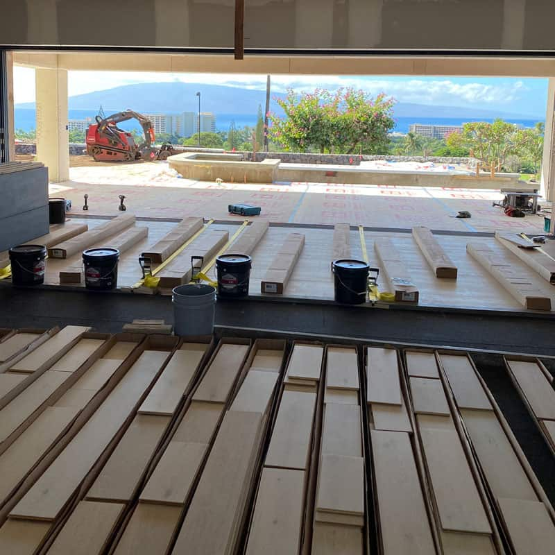 Wood flooring ready to set on sound dampening acoustical underlayment