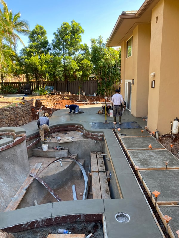 Concrete and layout of new spa and pool