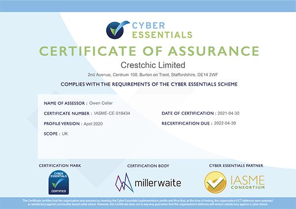 Crestchic gets 'Cyber Essentials' certified