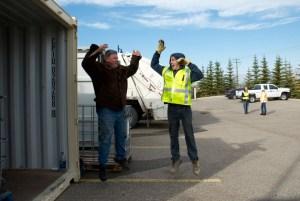 Workers having fun on the job