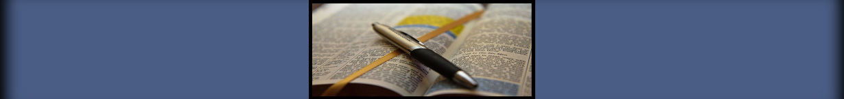 Banner photo of a pen resting on an open Bible.