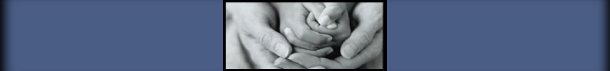 Banner black and white photo of praying hands, an adult holding the hands of a small child.