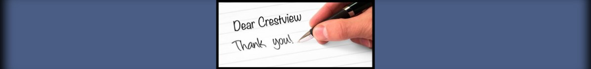 Banner Image showing someone writing a thank you note to Crestview Church.