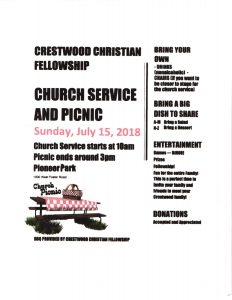 5th Annual All Church Picnic Sunday July 15th, Pioneer