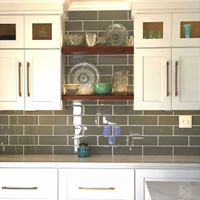 White Painted Cabinets with Stained Wood Shelves