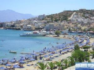 public sand beach of Elounda