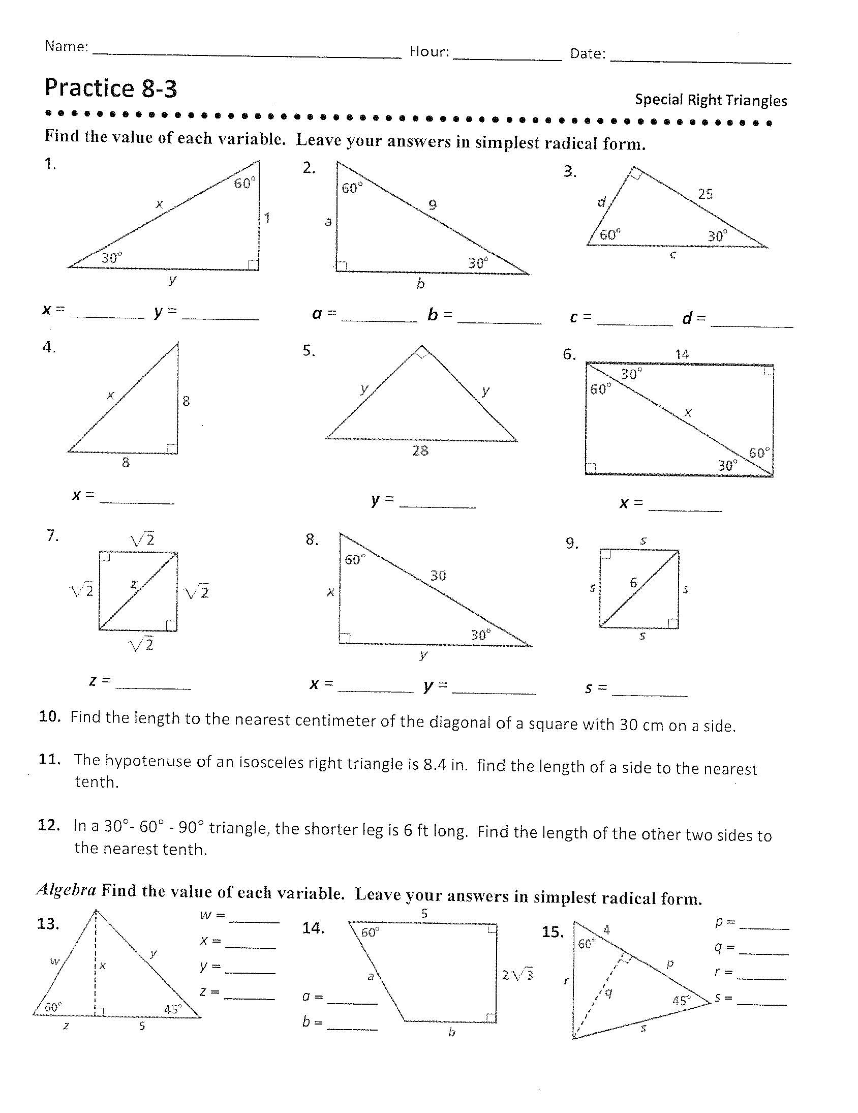 29 Special Right Triangles Practice Worksheet