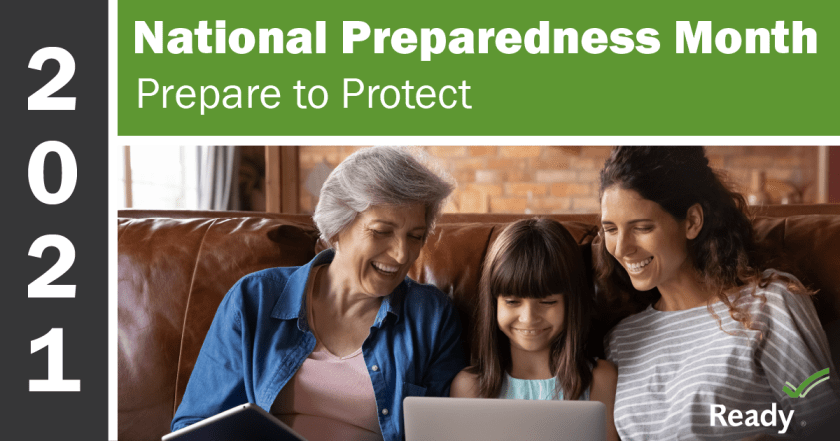 """A poster promoting 2021 National Preparedness Month: """"Prepare to Protect."""" Ready.gov"""