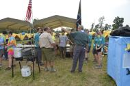 Wayne Brock and Tico Perez share stories with F902 while at the Jamboree.