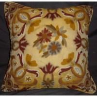 Crewel Pillow Art Nouveau Hay Gold Silk Organza