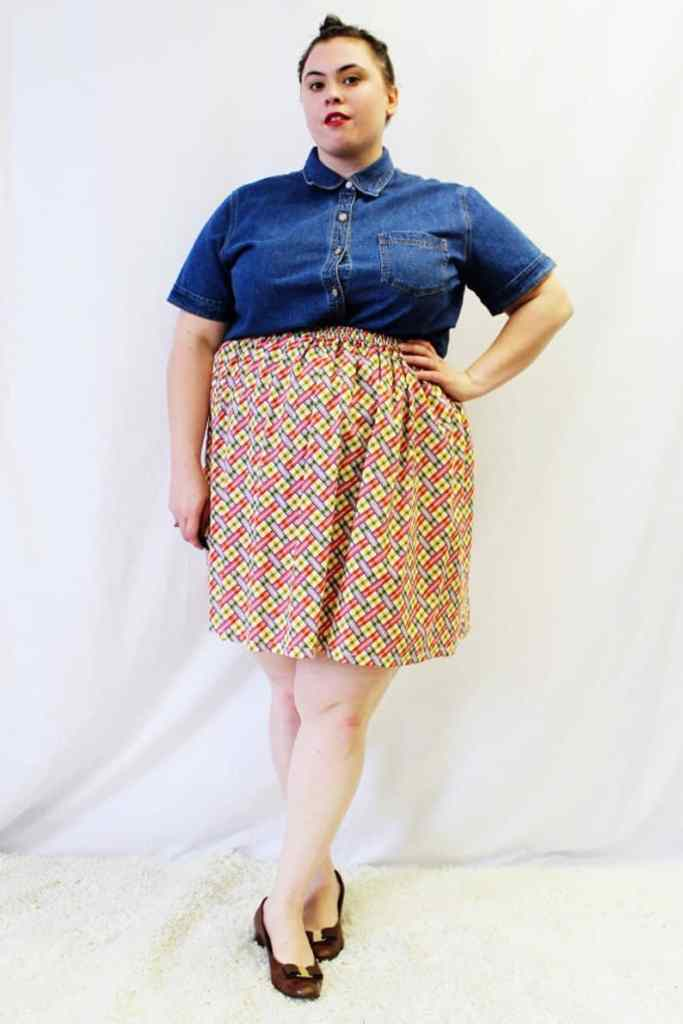 plaid plus size swing skirt