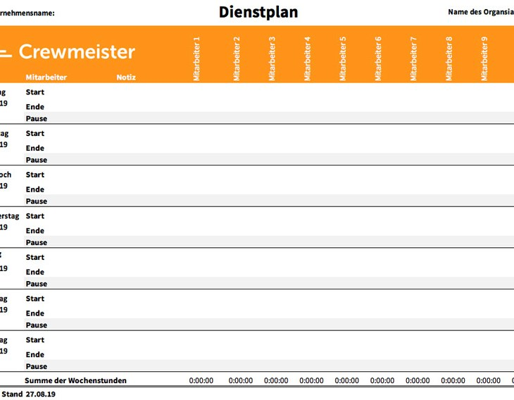 Kostenlose Excel Archive Crewmeister Magazin