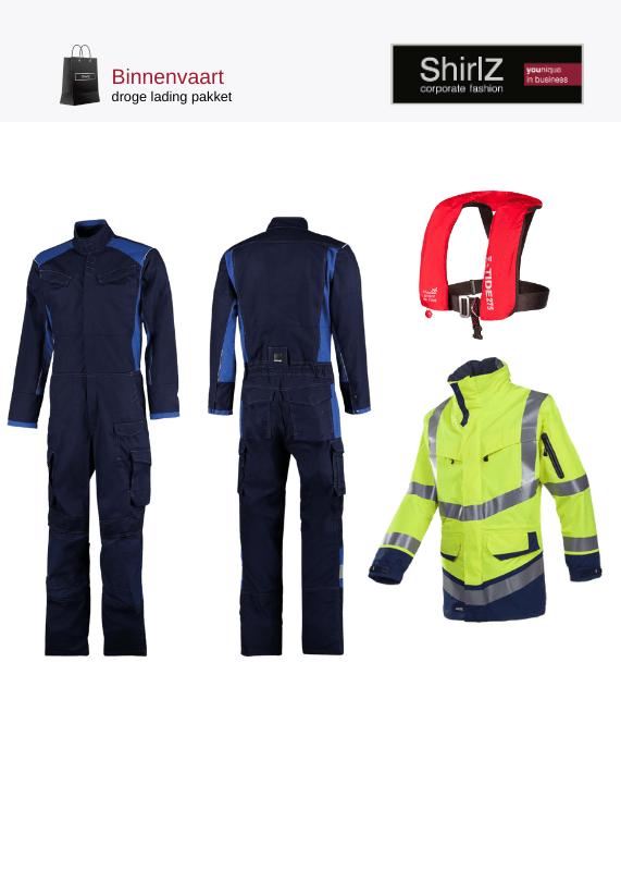 Binnenvaart droge lading pakket overall met werkparka en reddingsvest
