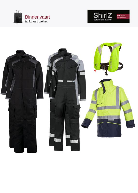 Binnenvaart tankvaart pakket Zwarte overalls met gele parka en antistatisch zwemvest