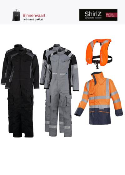 Binnenvaart tankvaart pakket overall met werkparka en reddingsvest grijs met oranje