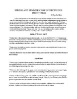 SPRING AND SUMMER CARE OF DECIDUOUS Fruit Trees Handout