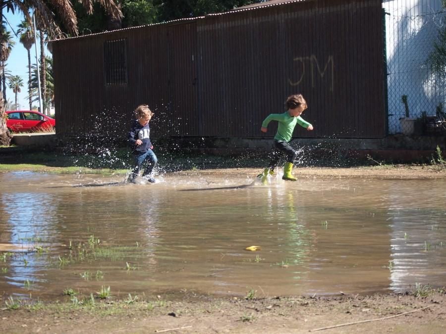 Juego sensorial en un charco del parque, niños corriendo y salpicando