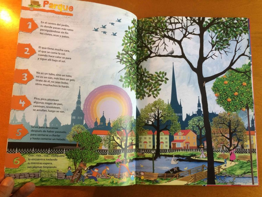 """Ilustración de un parque del libro """"Oro Parece"""""""
