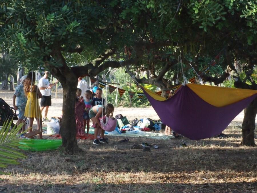 Vista del cumpleaños celebrado en el parque debajo de los algarrobos con una yincana colgante