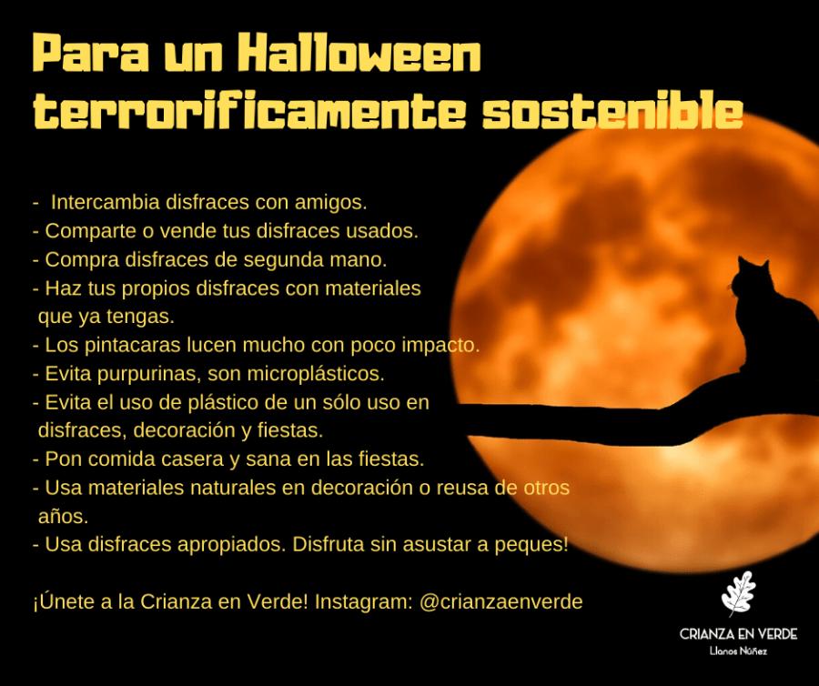 Baner con un resumen de ideas para un halloween mas sostenible y residio cero