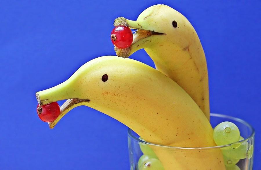 Plátanos decorados como delfines