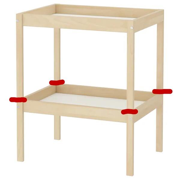 Foto del cambiador Sniglair de Ikea con marcas para saber donde cortar para sacar dos meses sensoriales