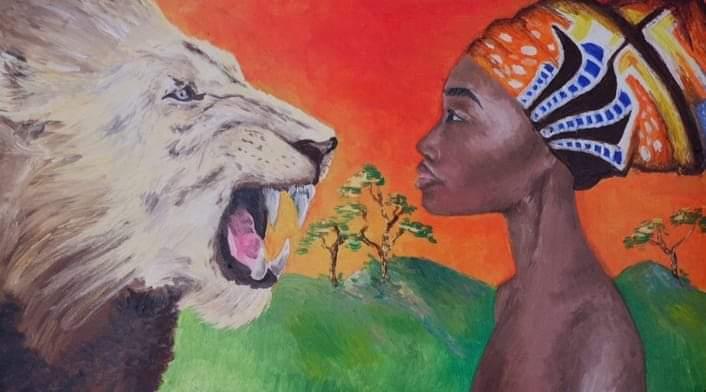Ilustración del libro Madre Tierra en el que se ve una mujer africana en frente de un león, ambos de perfil. El león ruge pero no tiene miedo.