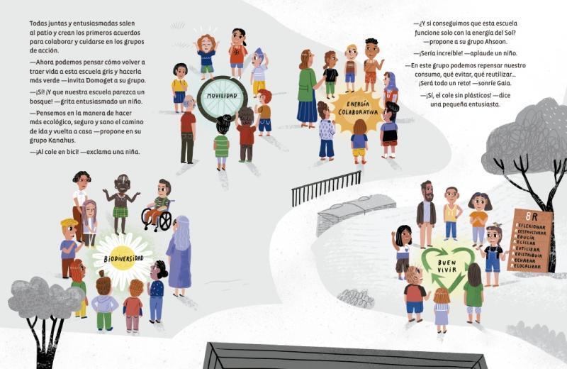Foto de página del libro No hay Planeta B donde se ve a los niños haciendo acciones en su colegio