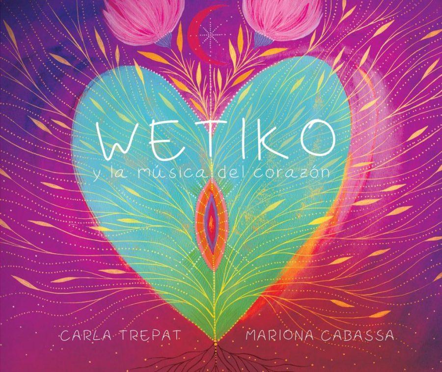Portada del cuento Wetiko donde se ve un corazón verde sobre morado con algo en el centro que se intuye una vulva