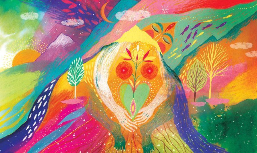 Ilustración de weitiko donde se a la madre tierra llevando un corazón
