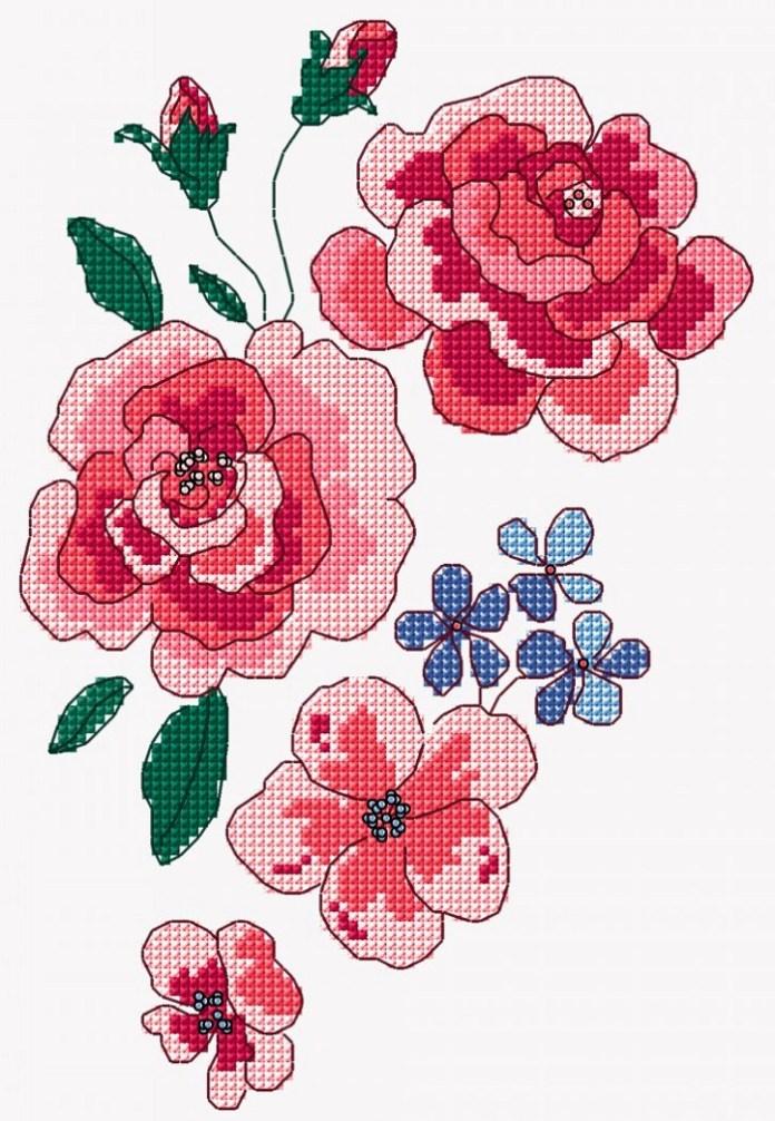 Climbing Roses Pattern Cross Stitch