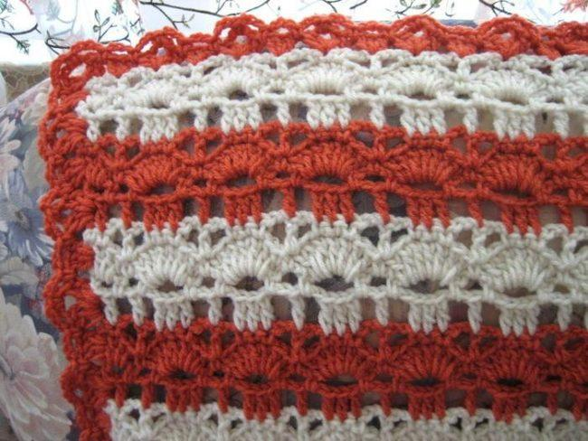 Coral Reef Shell Stitch Crochet Afghan Pattern