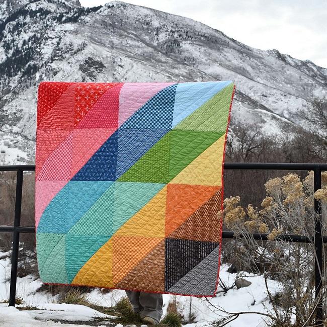 modern half square triangle quilt
